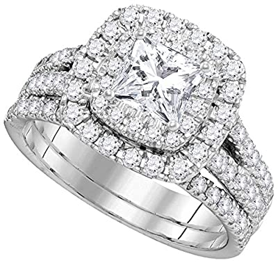 Solid 14k White Gold Princess Cut Round White Diamond Bridal Solitaire Halo Engagement Ring with Matching Wedding Band (2.07 cttw)