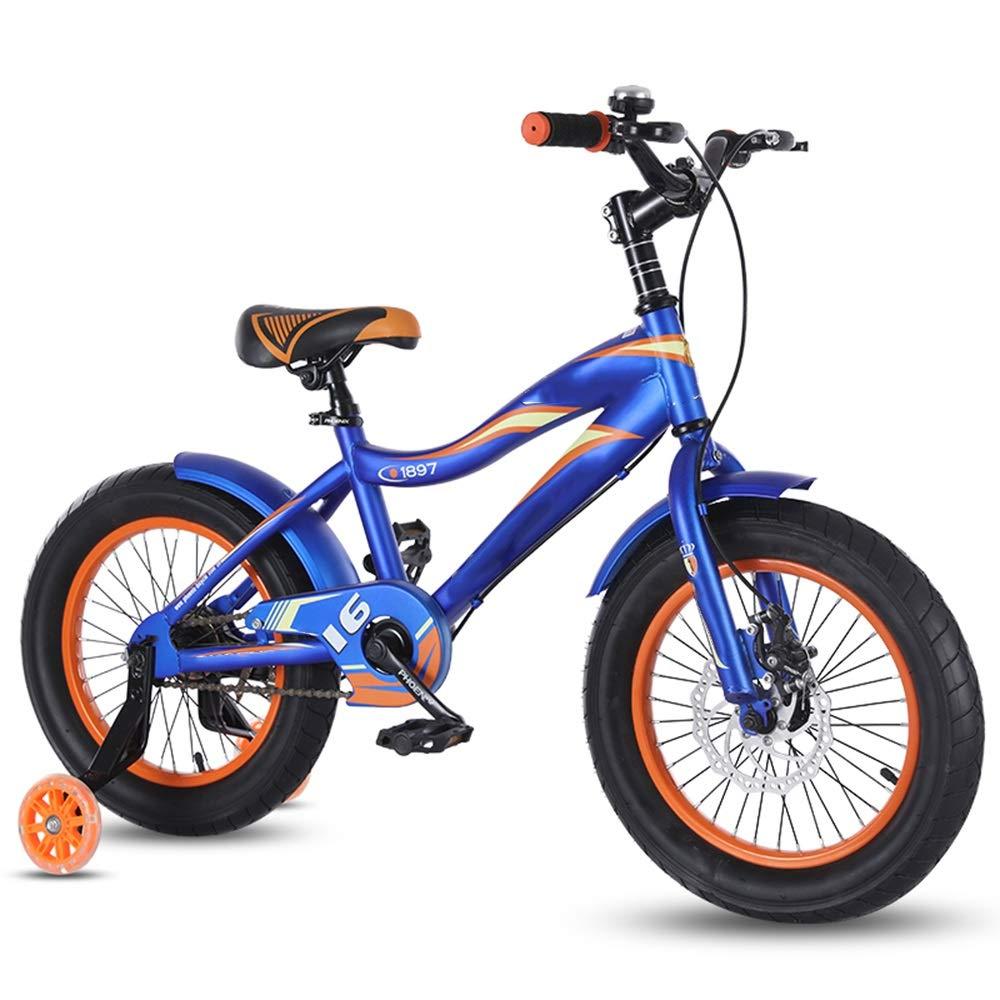 Axdwfd Bici per Bambini Bicicletta da Bambino da 16 Pollici, Bicicletta da Bambino in Acciaio ad Alto tenore di Carbonio con Ruota da Allenamento Regalo per Ragazzi e Ragazze di 4-8 Anni