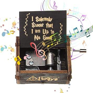 NELNISSA Cajas de música de Harry Potter Tema Musical de Hedwig Caja de Madera Tallada a Mano Regalos creativos Adorno Decoración (Negro): Amazon.es: Hogar