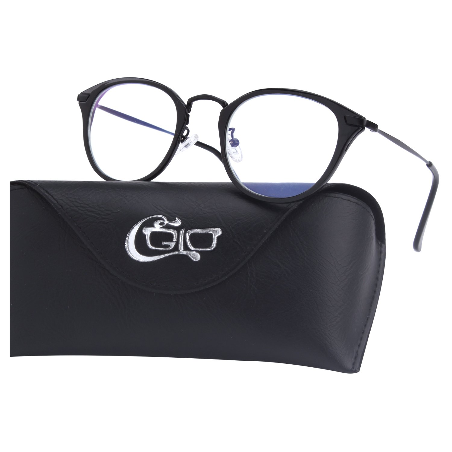 CGID BL903 Blue Light Blocking Glasses Anti Glare Fatigue Safety Computer Glasses with Premium TR90 Metal Frame Transparent Lens
