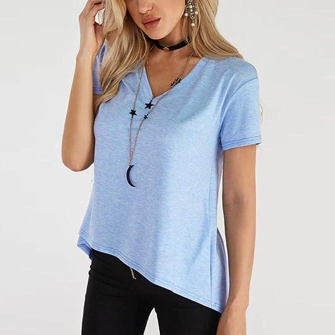 Mujer Blusa, Sonnena ❤ ❤ ❤ Mujer camiseta de verano fresco manga corta cuello-V Suelto y suave blusa casual y moda para citas Actividades al aire ...