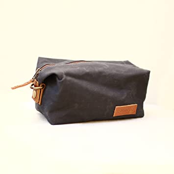 Amazon.com   Handmade Waxed Canvas Toiletry and Travel Bag   Sweeney Water  Resistant Travel Pouch Bag   Stylish Dopp Kit by Gouache (Asphalt Grey)    Beauty aec8720d5d
