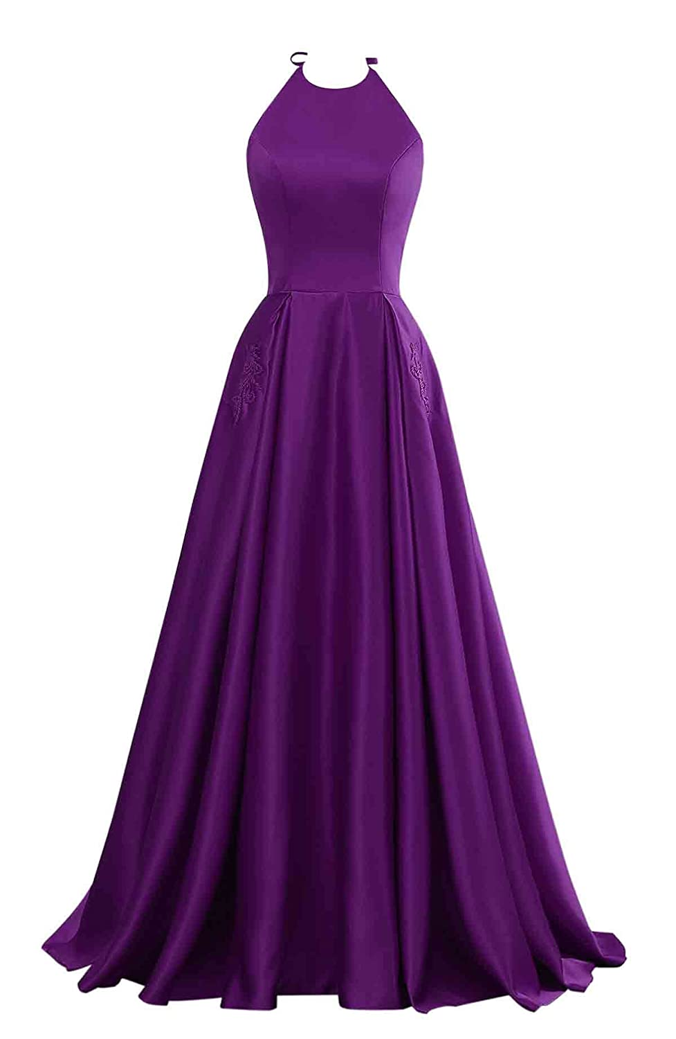 Purple Changuan Halter Aline Satin Evening Prom Dresses for Women Beaded Long Formal Gown with Pockets