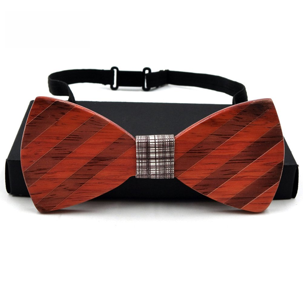 Mens Wooden Bow Tie Pre Tied Bowtie Wedding Wood Tie with Adjustable Strap Gift Box
