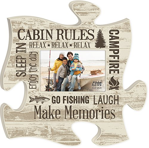Cabin Rules Relax Relax Relax 4x6 Photo Frame Inspirational Puzzle Piece Wall Art Plaque