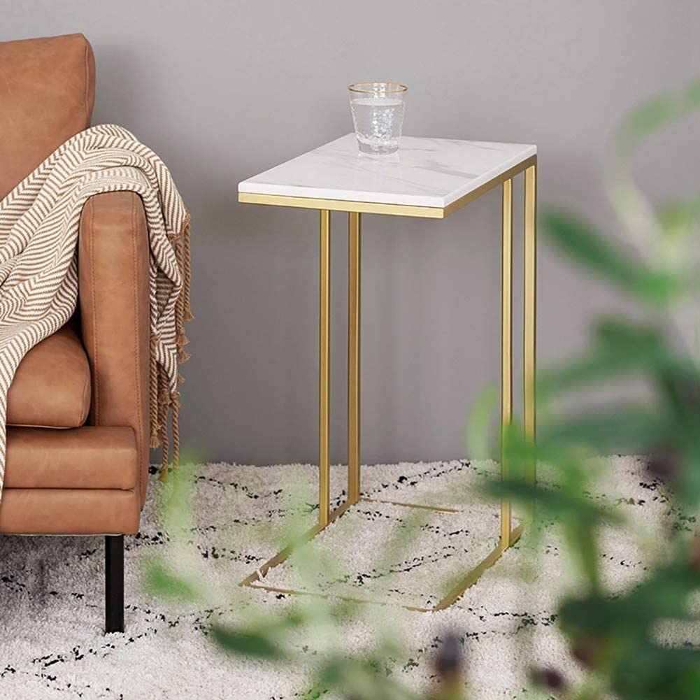 Snack Side Table C Shaped Coffee End Table For Sofa Couch And Bed Gold Color Gold Amazon Co Uk Kitchen Home [ 1001 x 1001 Pixel ]