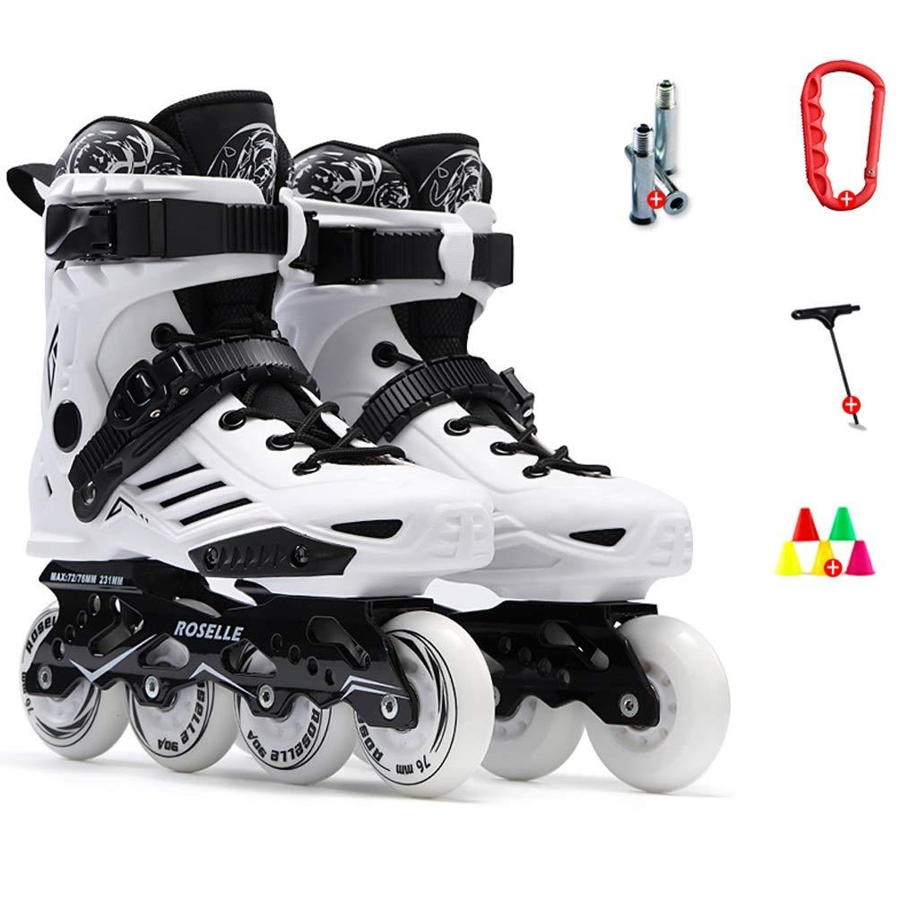 インラインスケート インラインスケート、男性用プロのインラインスケート、初心者、スピードスケート靴、単一行スケート靴、女性用単一行スケート靴(白) (色 : A, サイズ さいず : EU 35/US 4/UK 3/JP 22.5cm) A EU 35/US 4/UK 3/JP 22.5cm