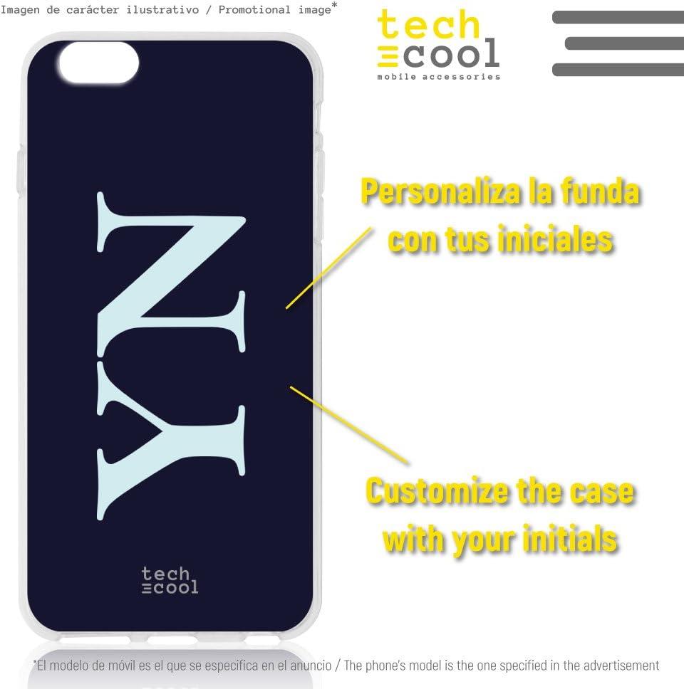 Funnytech/® Funda Silicona para iPhone 8 Plus Gel Silicona Flexible, Dise/ño Exclusivo Fondo Negro Personalizable Iniciales Vers.1