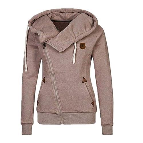 BOMOVO Mujeres Abrigo de Manga Larga con Capucha Coat Jacket cremallera lateral