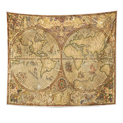 TOMPOP Tapestry Vintage with World Atlas Map on Antique Parchment Pirate Adventures Treasure Hunt and Old Transportation Home Decor Wall Hanging for Living Room Bedroom Dorm 50x60 Inches Antique Tapestry Fabric