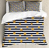 Gold and White Queen Size Duvet Cover Set by Ambesonne, Thin Horizontal Lines with Circles Rounds Vintage Polka Dots, Decorative 3 Piece Bedding Set with 2 Pillow Shams, Black White and Yellow