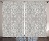 Cheap Ambesonne Grey Curtains, Victorian Lace Flowers and Leaves Retro Background Old Fashioned Graphic Print, Living Room Bedroom Window Drapes 2 Panel Set, 108 W X 84 L Inches, Warm Taupe Beige