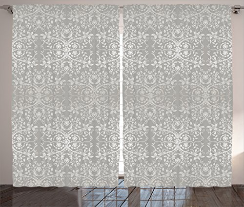 Grey Curtains by Ambesonne, Victorian Lace Flowers and Leaves in Retro Background Old Fashioned Graphic Print, Living Room Bedroom Window Drapes 2 Panel Set, 108 W X 84 L Inches, Warm (Victorian Living Room Set)