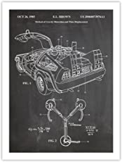 Steves Poster Store DELOREAN TIME MACHINE POSTER BACK TO THE FUTURE MOVIE CAR BLACKBOARD 1985 US PATENT ART RETRO PRINT 18X24 AUTO JOHN FLUX CAPACITOR GIFT