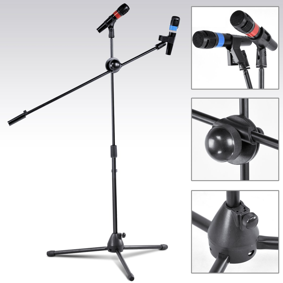 SODIAL(R) Mic Stand Professional On Tripod Adjustable Black with Free Microphone Clip