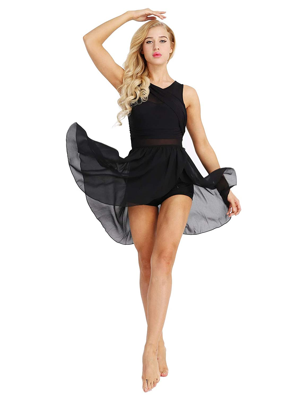 Amazon.com  FEESHOW Lyrical Women Dance Costume Leotard Dress Illusion  V-Neck Chiffon Flowy High-Low Skirt  Clothing 44f956ab57c0