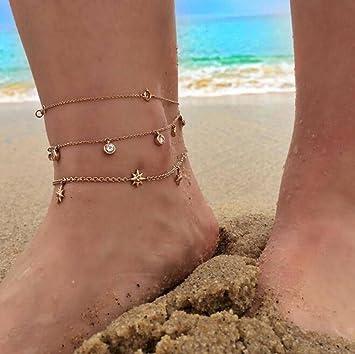 taottao Oro Mujer Verano Playa Sandalias Descalzo Cadenas Soporte ...