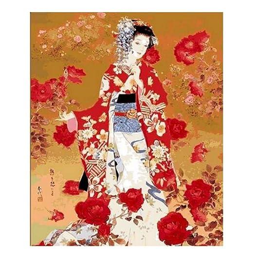 zlxzlx (Sin Marco) Traje Japonés Kimono Belleza Pintura por ...