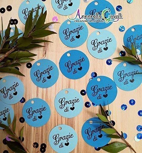 Cartellini TONDI BIMBO bomboniera, 50 pezzi, 3x3 cm, GRAZIE, tondo, etichette, nascita, battesimo, bimbo, cresima, comunione, tag, bigliettino, bomboniere, compleanno, confettata, mix blu
