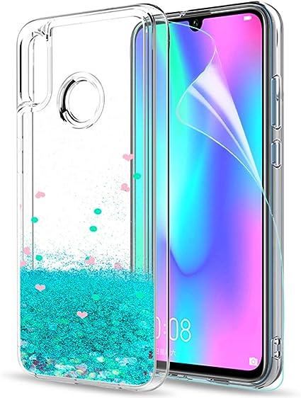 LeYi Funda Huawei P Smart 2019 / Honor 10 Lite Silicona Purpurina Carcasa con HD Protectores de Pantalla,Transparente Cristal Bumper Telefono Fundas Case Cover para Movil P Smart 2019 ZX Verde: Amazon.es: Electrónica