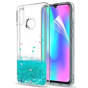LeYi Funda Huawei P Smart 2019 / Honor 10 Lite Silicona Purpurina Carcasa con HD Protectores de Pantalla,Transparente Cristal Bumper Telefono Fundas ...
