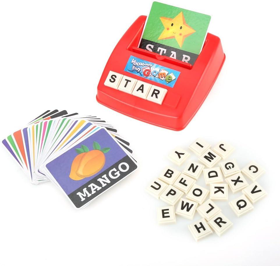 Lernkarte Lernspiel Lernspiel f/ür Kinder Spielzeug f/ür Babys und Kleinkinder Lernkarte 26 Buchstaben mit 30 Worten