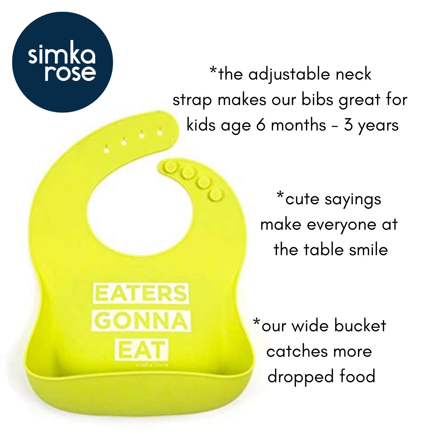 Waterproof Baby Bibs for Girls and Boys Perfect for Babies and Toddlers Easy to Clean Feeding Bibs Navy/Lime Simka Rose Silicone Bib Set of 2 Excellent Baby Shower Gift