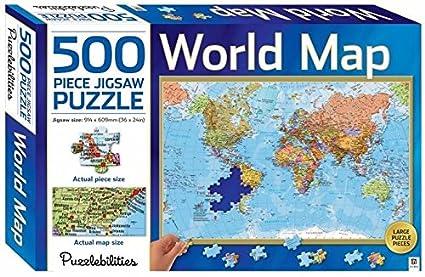 Amazon Com Puzzlebilities World Map 500 Piece Jigsaw Puzzle Toys