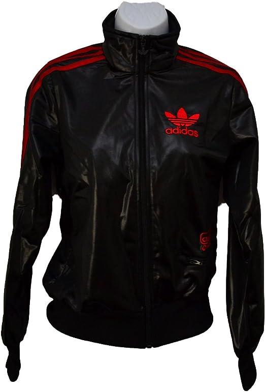 adidas Originals Damen W C62 Big TRF T Trefoil Jacke Blouson glänzend schwarz