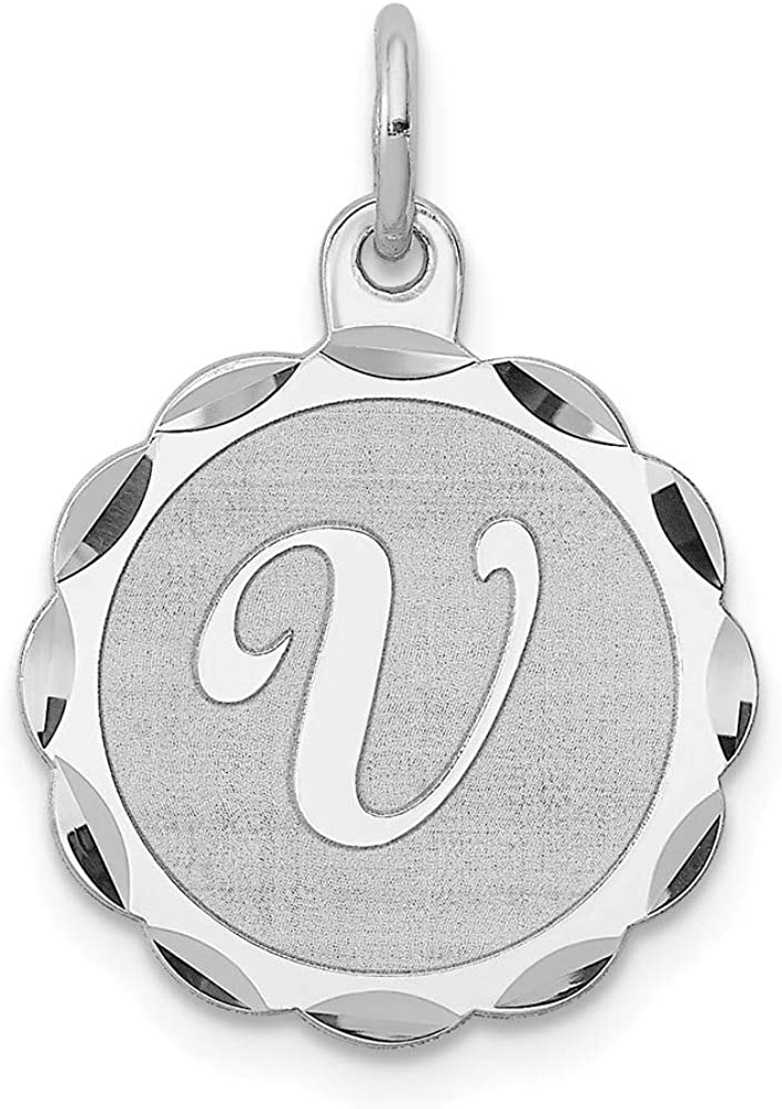 16mm x 22mm Solid 925 Sterling Silver Brocaded Initial I Pendant Charm