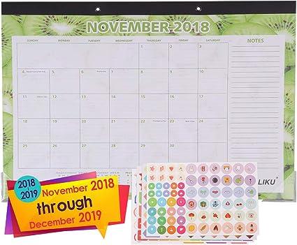 LIKU Calendario de pared de escritorio grande 2018 2019-17
