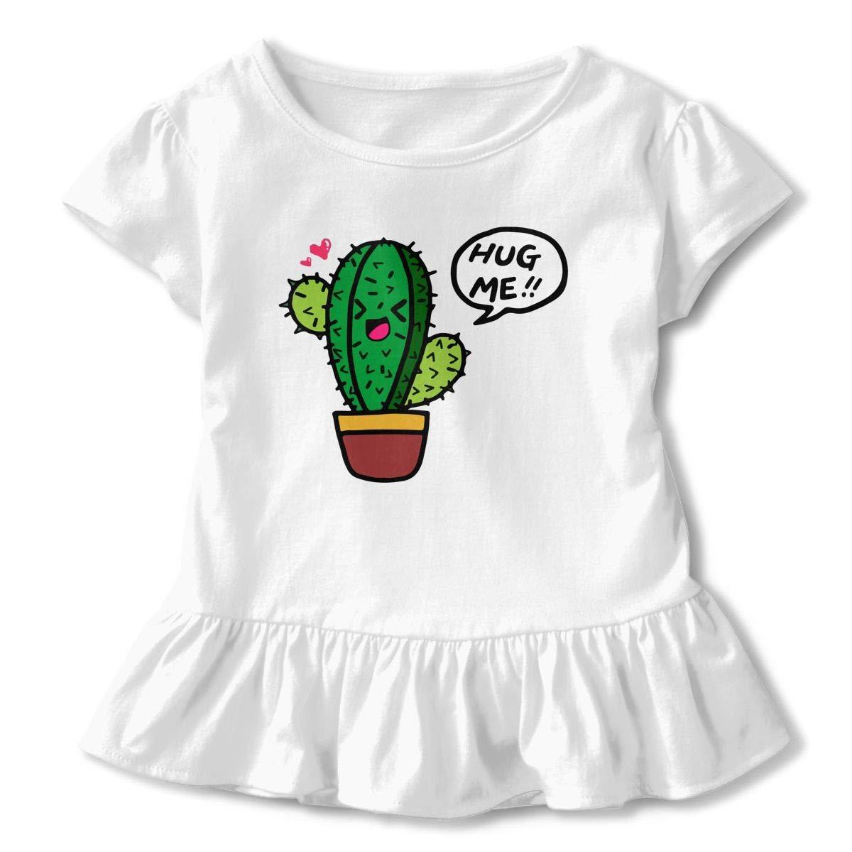 Cheng Jian Bo Hug Cactus Hug Me Toddler Girls T Shirt Kids Cotton Short Sleeve Ruffle Tee