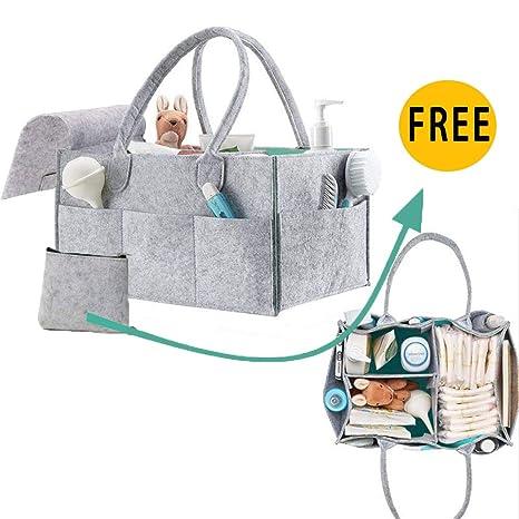 QICI Organizador de pañales de bebé y de juguetes de viaje, cesta ...