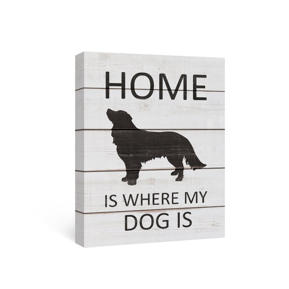 SUMAGR Black and White Wall Art Quotes on Canvas Dog Wall Decor Black Golden Retriever Gifts,12x16inch
