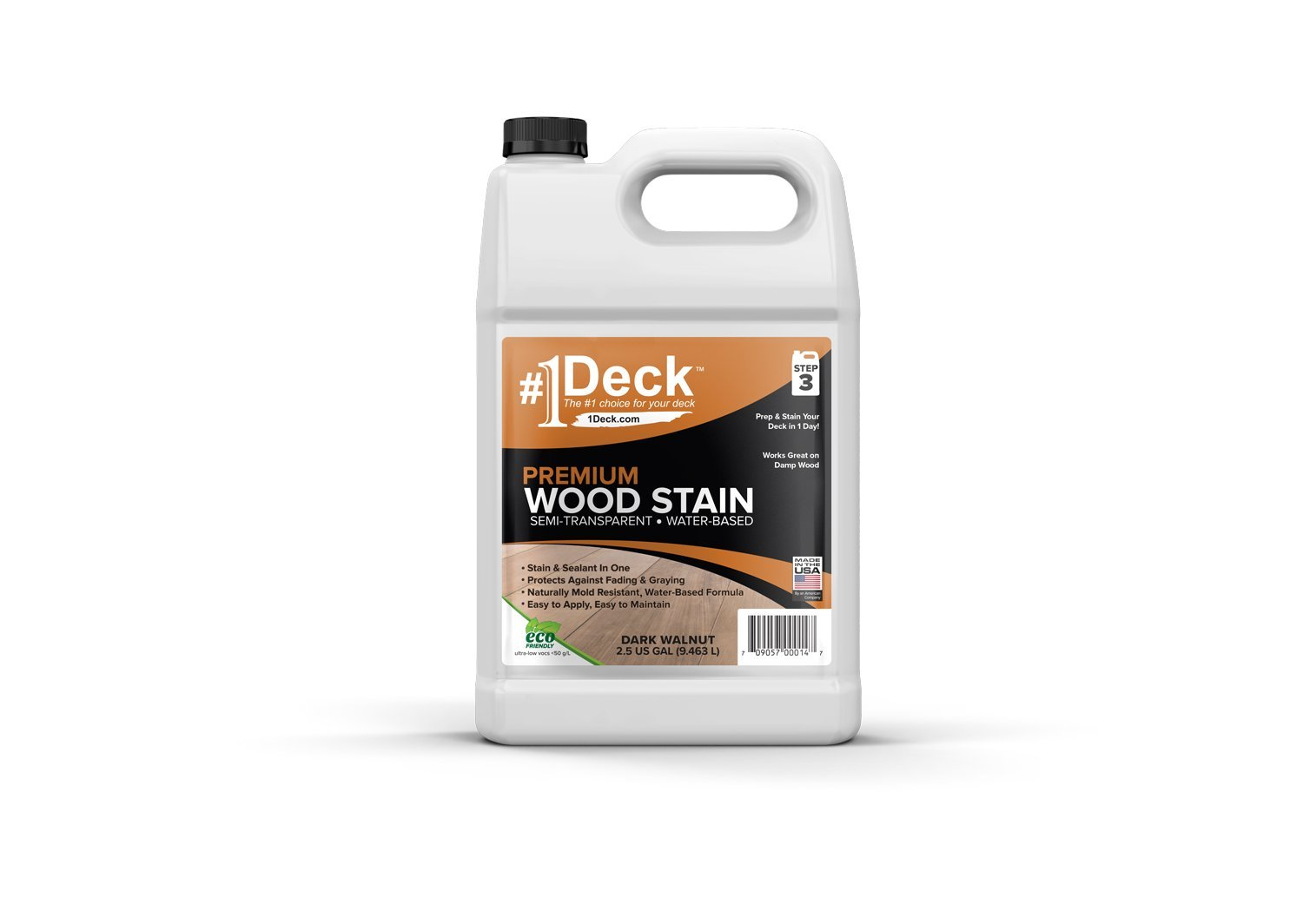 #1 Deck Premium Wood Stain for Decks, Fences, Siding (2.5 Gallon, Dark Walnut)