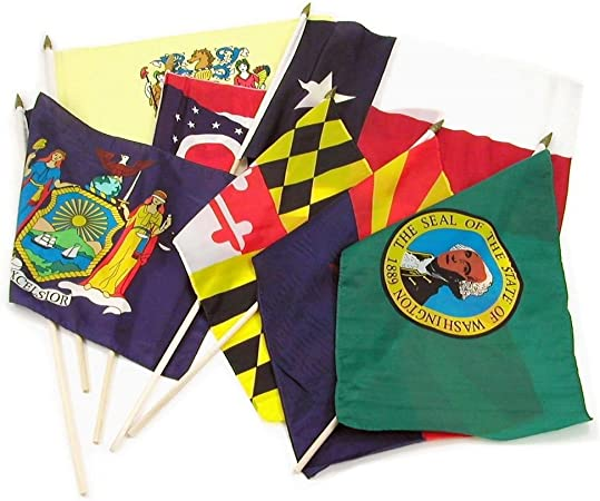 "Wholesale Lot of 3 6x9 6/""x9/"" State of Maine Stick Flag wood Staff"