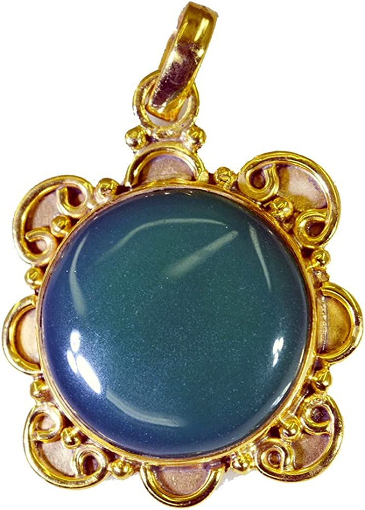 Jewelryonclick Round Shape Real Green Onyx Gold Plated Pendant Gifts for Women Jewelry Necklace Charms