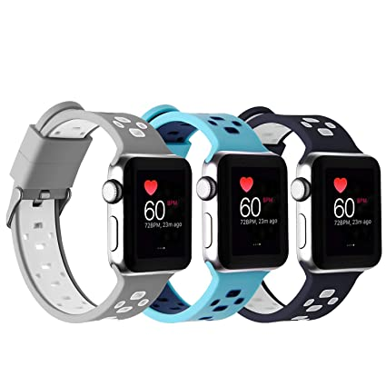108db64627392a Rockvee Band Compatible for Apple Watch 38mm 42mm Women Men, Breathable  Silicone Replacement Band for