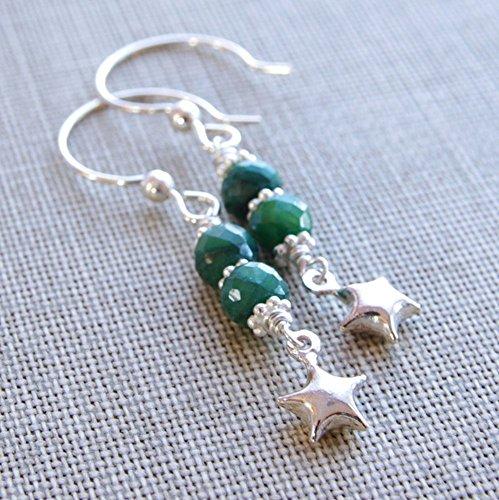 - Emerald Earrings Green Gemstone Sterling Silver Star Bead Dangle