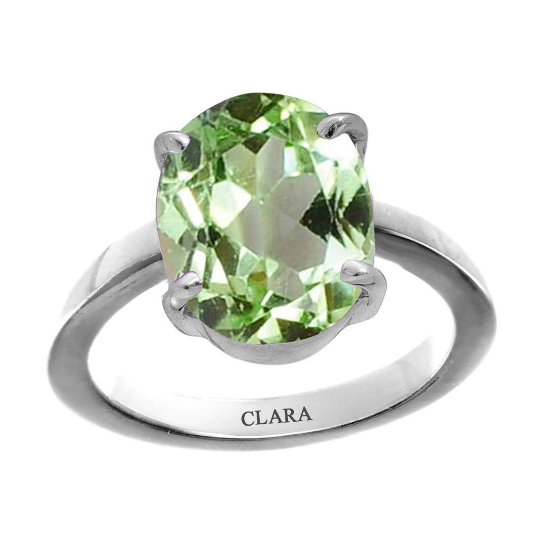 Clara Certified Peridot 7.5cts or 8.25ratti original stone Sterling Silver Astrological Ring for Men and Women
