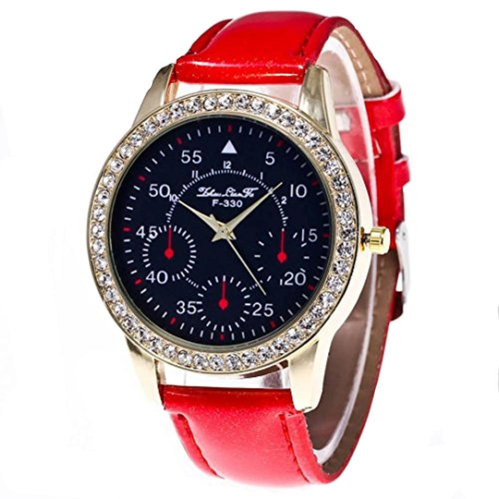 Women 's Watch、howstarオスとメスキャンディーカラーPUレザークォーツストラップ手首腕時計 レッド レッド B0728C7DPC