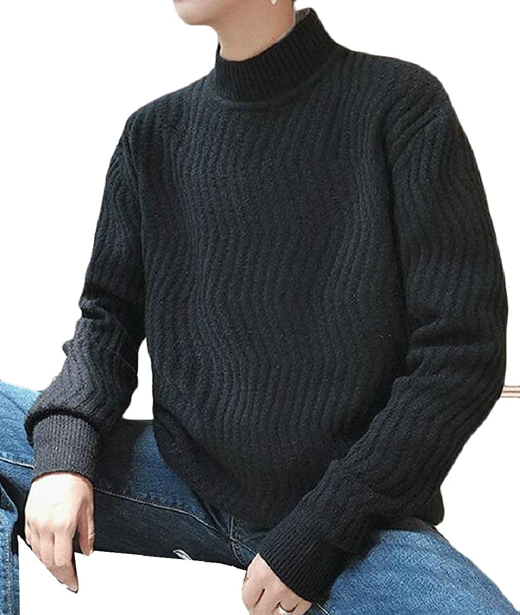 CBTLVSN Mens Casual Loose Knitted Sweater Long Sleeve Mock Neck Pullover Tops