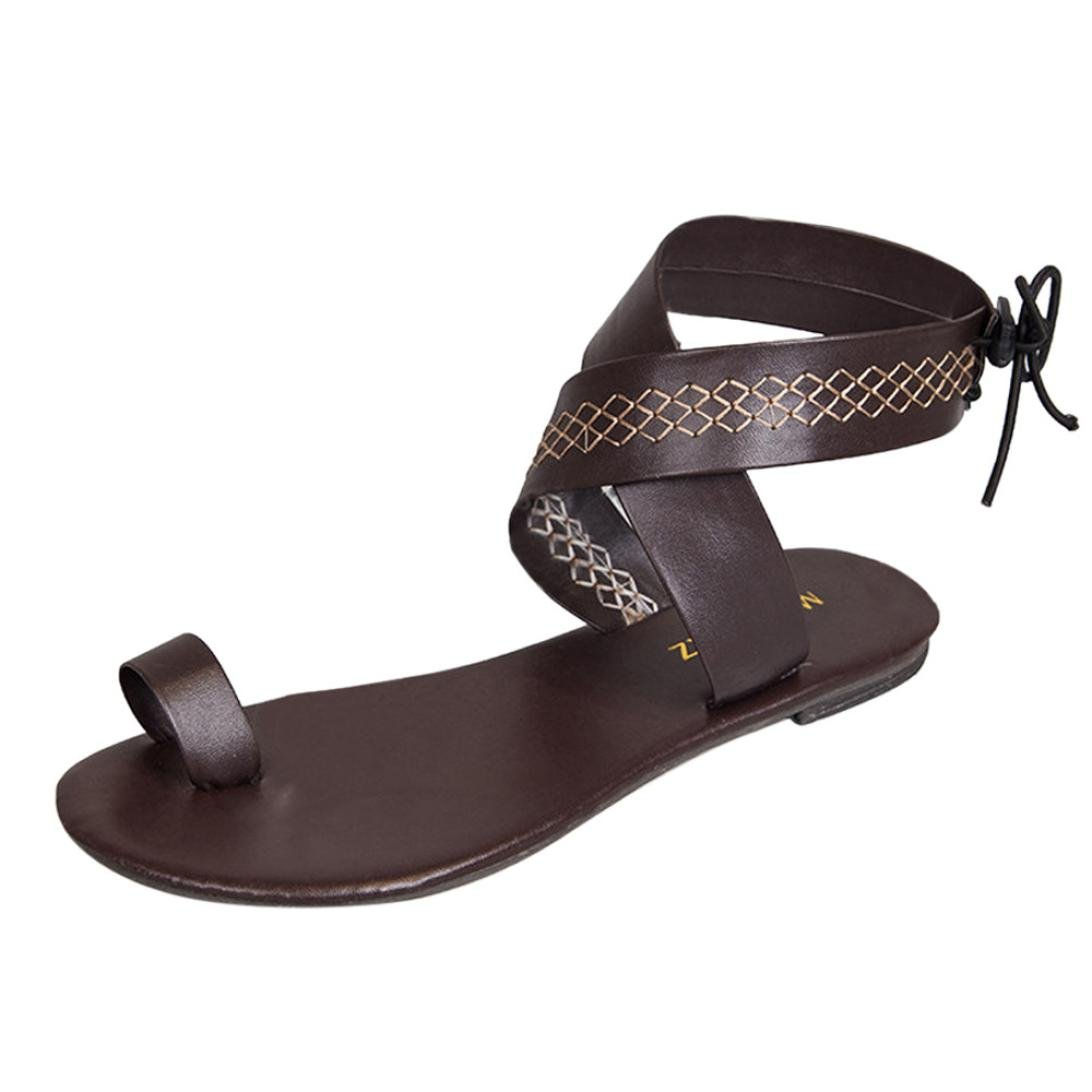 Han Shi Fashion Sandals, Women Cross Belt Strappy Flip Flops Gladiator Wedge Shoes (Brown, 9)
