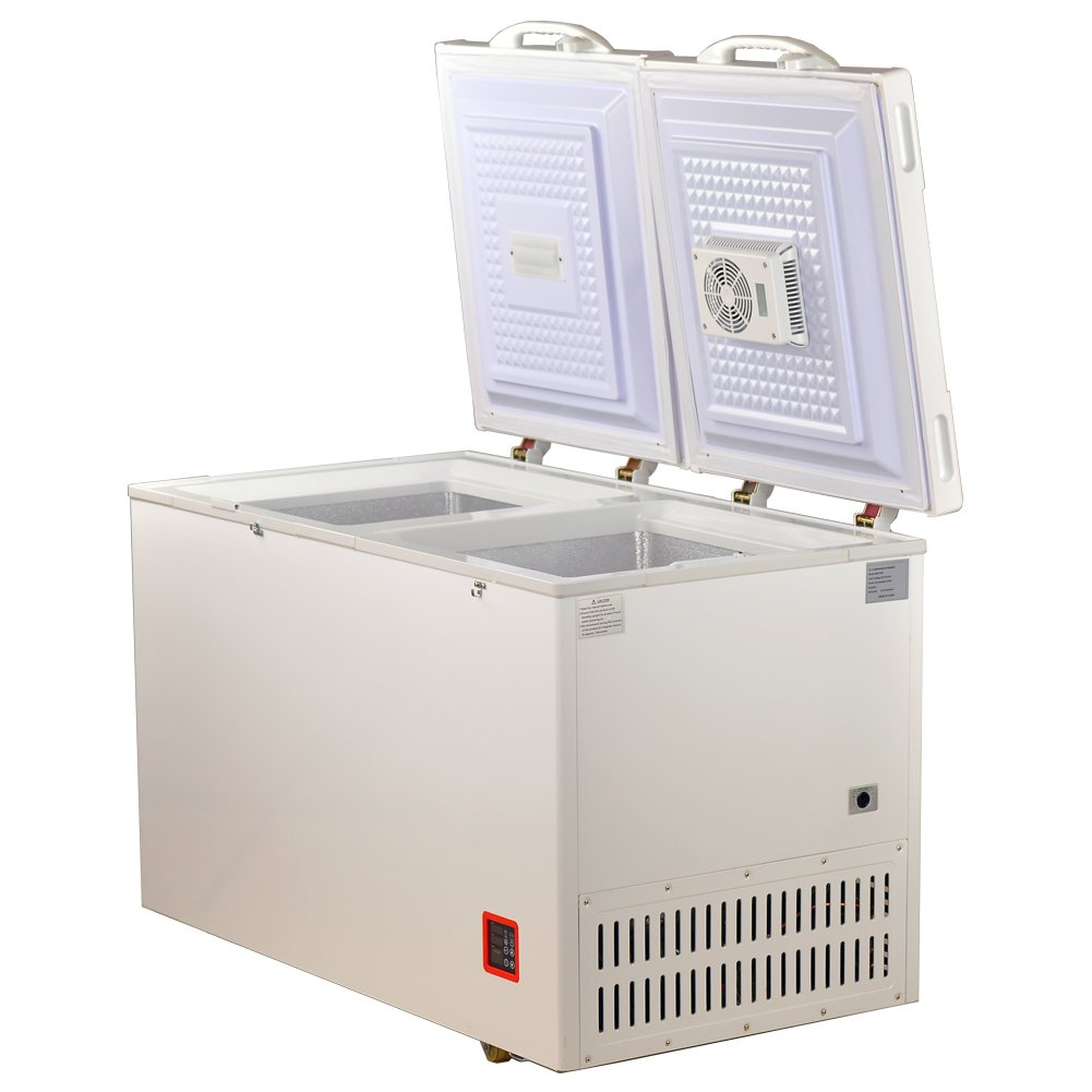 Smad White Chest Freezer Solar Powered Fridge with Freezer Dual Door,7.5 cu.ft.