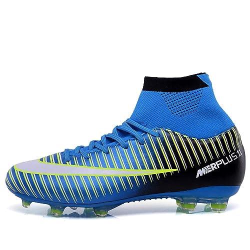 REBEST Botas de fútbol, Zapatos de fútbol, Tacos de Hierba y fútbol, Zapatos