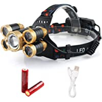 LED Headlamp, 12000LM 4 Modes Flashlights, Waterproof Headlight with 18650 Battery Powered or USB Rechargeable, Best for Camping Running Hiking and Working