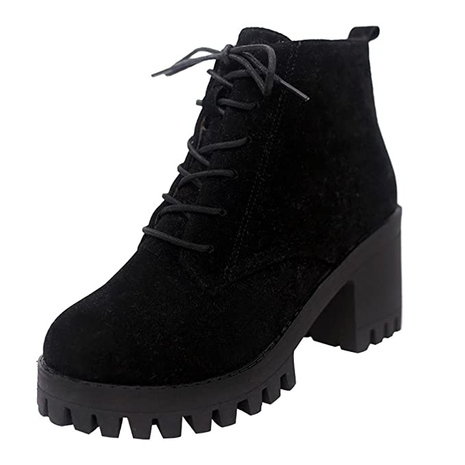 fe4c8a107c857 Amazon.com: Aurorax-Shoes 2018 Clearance Womens Girls Ankle Bootie  5.5-8,Ladies Lace-up Block Heel Round Toe Boots for Party Walking Work:  Clothing