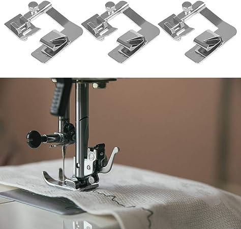 FOCCTS Juego de 3 prensatelas para máquina de coser (4/8 pulgadas, 6/8 pulgadas, 8/8 pulgadas) Adecuado para máquinas de coser de baja potencia: Amazon.es: Hogar
