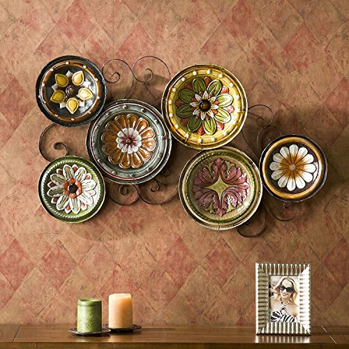 6-piece Italian Plates Wall Art Sculpture Set, Hand Painted and Glazed to Perfection (Hand Painted Glazed)