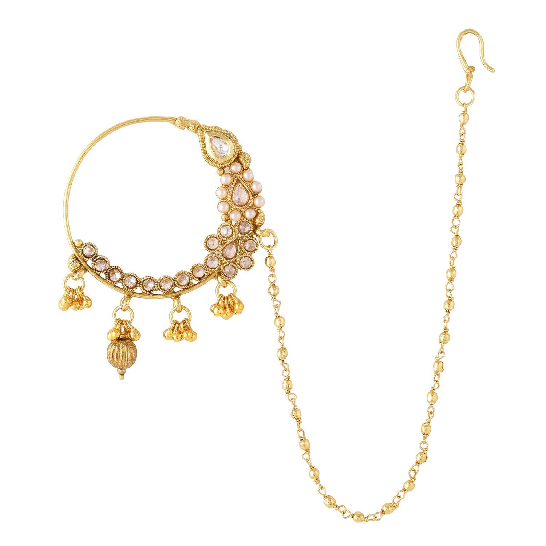 Buy Sanjog Embellished Jadau Kundan Nath Nose Ring Pin For Women
